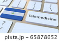 Telemedicine text and flag of Nicaragua on the computer keyboard. Remote medical services related conceptual 3D rendering 65878652