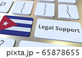 Legal Support text and flag of Cuba on the computer keyboard. Online legal service related 3D rendering 65878655