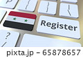 Register text and flag of Syria on the keyboard. Online services related 3D rendering 65878657