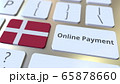 Online Payment text and flag of Denmark on the keyboard. Modern finance related conceptual 3D rendering 65878660