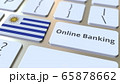 Online Banking text and flag of Uruguay on the keyboard. Internet finance related conceptual 3D rendering 65878662