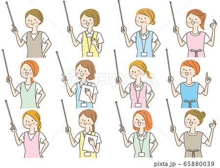 若い女性 看護師 整体師 白衣 表情セット 65880039