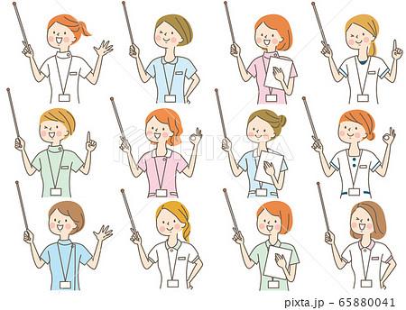 若い女性 医師 看護師 整体師 白衣 表情セット 65880041