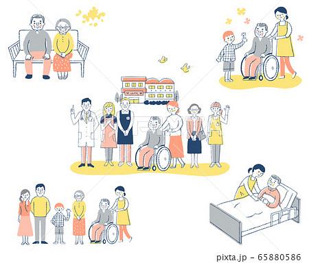 介護施設 さまざまなシーン セット 65880586