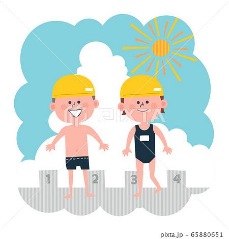 子供 水泳 水着 プール 65880651