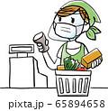 人物:レジ マスク 飛沫感染 予防 感染予防 スーパー お買い物 お会計 フェイスシールド 65894658