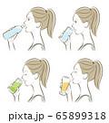 女性の横顔, 冷たい飲み物 65899318