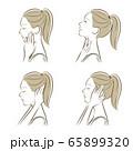女性の横顔の表情イラスト 65899320