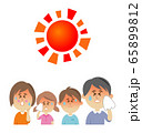 暑さに悩む家族のイラストイメージ 65899812