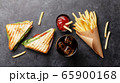 Club sandwich, potato fries chips and cola 65900168