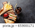 Club sandwich, potato fries chips and cola 65900171