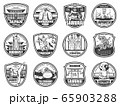 Japanese travel, culture, sport and religion icons 65903288