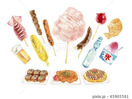 縁日 祭 屋台 出店 食べ物 セット 水彩 イラストのイラスト素材 ...