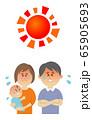 暑さに悩む家族のイラストイメージ 65905693