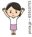 女の子01_01(困り顔・両手を挙げてグー・全身・女性) 65910755