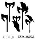 raven bird and viking pole axe black and white vector design set 65910858