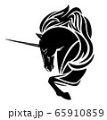 fairy tale unicorn horse side view black and white vector portrait 65910859