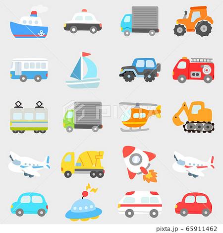 シンプルで可愛い色々な乗り物のイラストセット 主線なし 65911462