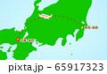シンプルな飛行機移動の説明イラスト(成田発-伊丹着) 65917323