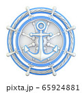 Anchor, ship wheel and rope 3D 65924881