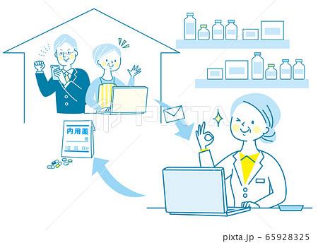 シニア 女性 医師 薬剤師 白衣 オンライン受診  65928325
