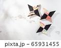 忍者の手裏剣、折り紙、日本 65931455