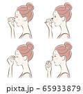 メイクをしている女性のイラスト 65933879