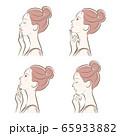 女性の横顔の表情イラスト 65933882