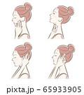 女性の横顔の表情イラスト 65933905
