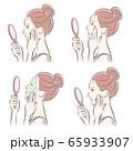 スキンケアをしている女性のイラスト 65933907