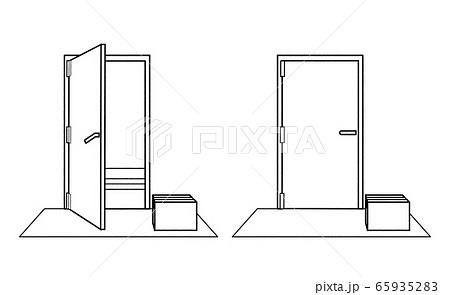 置き配 ドアの開閉 線画 65935283