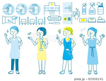 若い女性 看護師 整体師 白衣 表情セット 65936141