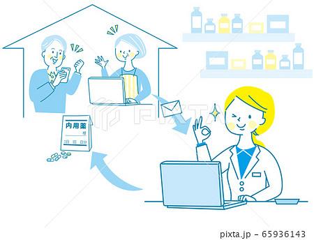 若い 女性 薬剤師 白衣 オンライン受診  65936143