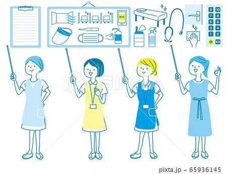 若い女性 看護師 整体師 白衣 表情セット 65936145