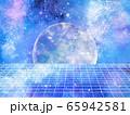 宇宙背景 月とグリッド 65942581