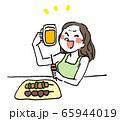 仕事終わりに飲むビールと焼き鳥が美味しい女性 65944019