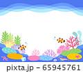 海底のサンゴ礁イラストフレーム 65945761