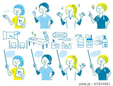 若い女性 医師 看護師 整体師 白衣 表情セット 65954061