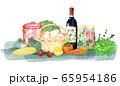 ワインと食材の水彩画 65954186