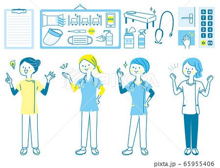 若い女性 医師 看護師 整体師 白衣 表情セット 65955406