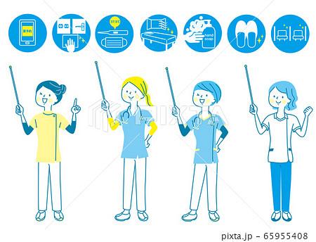 若い女性 医師 看護師 整体師 白衣 表情セット 65955408