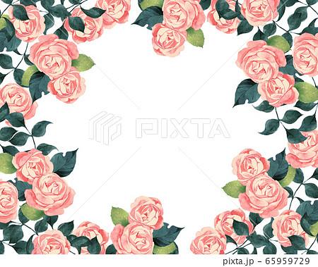 ピンクの薔薇のフレーム 65959729