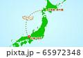 シンプルな飛行機移動の説明イラスト(新千歳発-伊丹着) 65972348