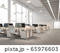 Modern style high ceiling office interior with city view 3d render 65976603