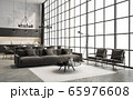 Industrial loft style living and dining room interior 3d render 65976608