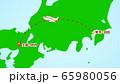シンプルな飛行機移動の説明イラスト(羽田発-伊丹着) 65980056