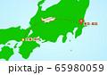 シンプルな飛行機移動の説明イラスト(伊丹発-成田着) 65980059