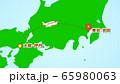 シンプルな飛行機移動の説明イラスト(伊丹発-羽田着) 65980063