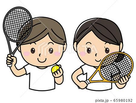 男女01_05(スポーツ・テニスラケットを持つ笑顔の男女) 65980192