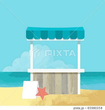 海の家と浜辺のベクターイラスト(手描き) 65980358